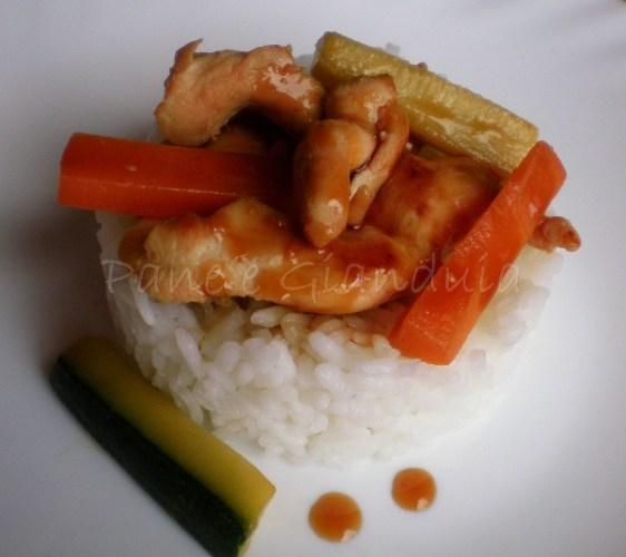 Pollo teriyaki con riso e verdure