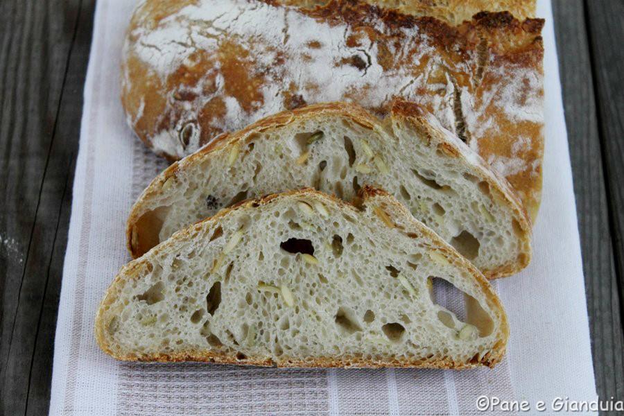 Pane bianco con semi di zucca