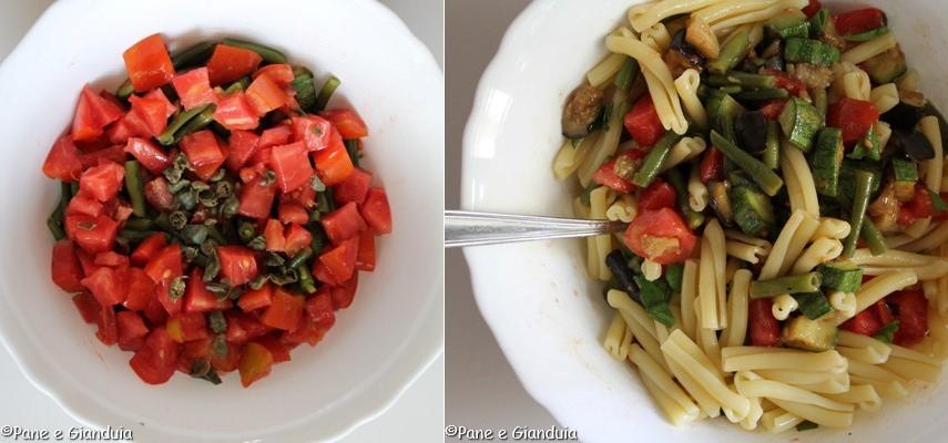 insalata di pasta con pomodori