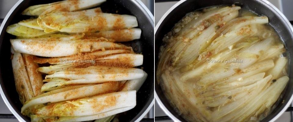 Ricetta ricette Indivia stufata in padella con capperi e bottarga