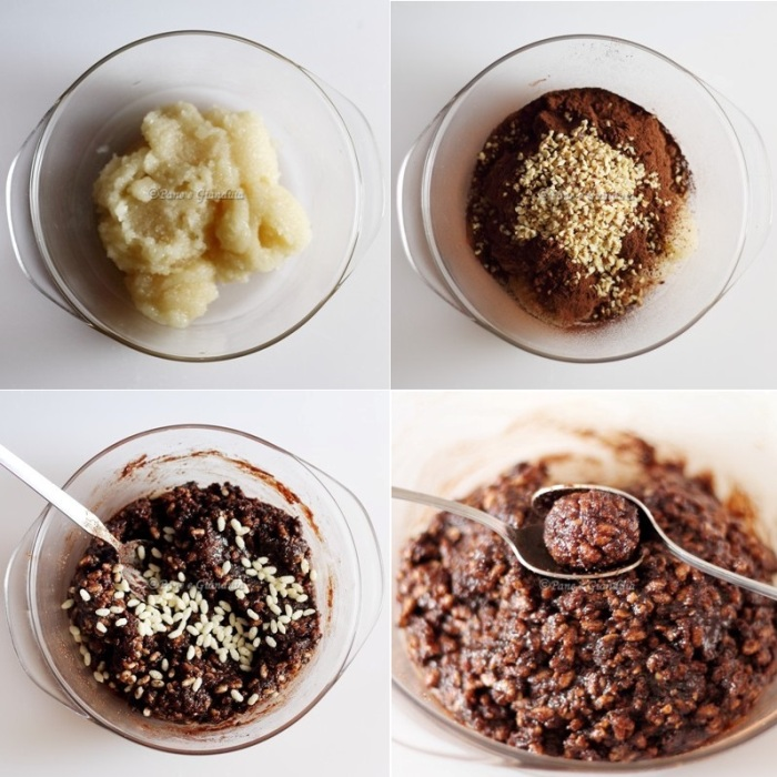 Ingredienti tartufini pasta di mandorla riso soffiato