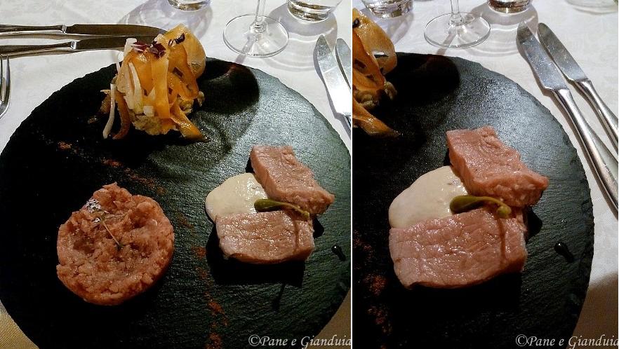 Tris di antipasti con battuta di fassone e lombata di fassone con salsa tonnata