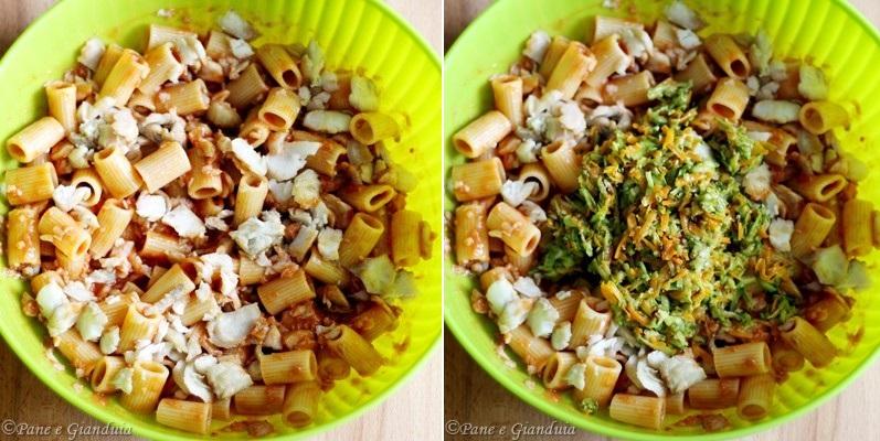 Maccheroni al forno con filetto di branzino e zucchine