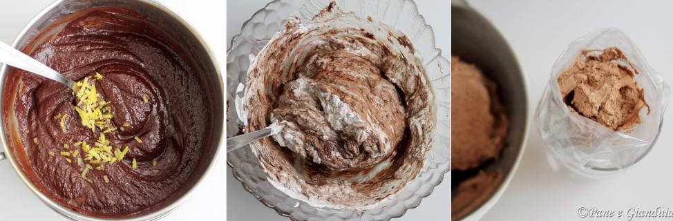 Mousse al cioccolato e panna aromatizzata al limone, cannella e vaniglia