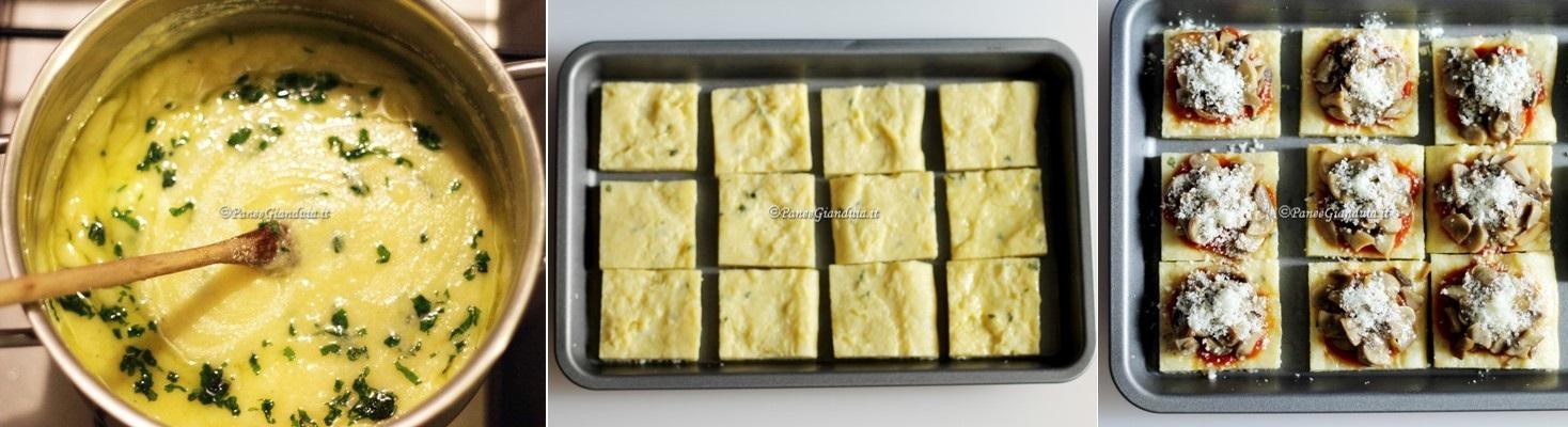 Ricetta Crostini di polenta ai funghi e grana