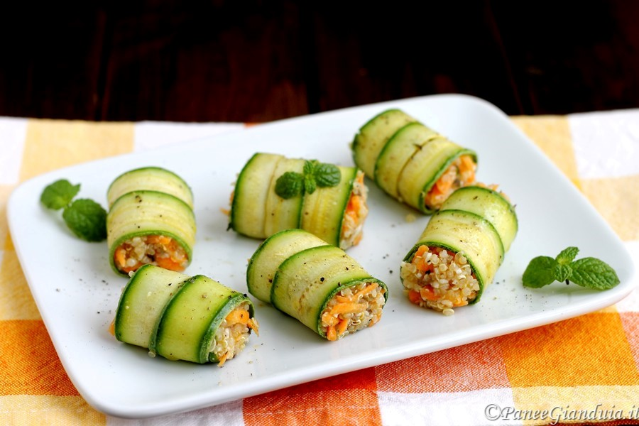 Involtini di zucchine e quinoa con olive e toma