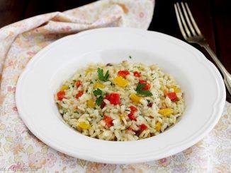 Risotto con peperoni e olive