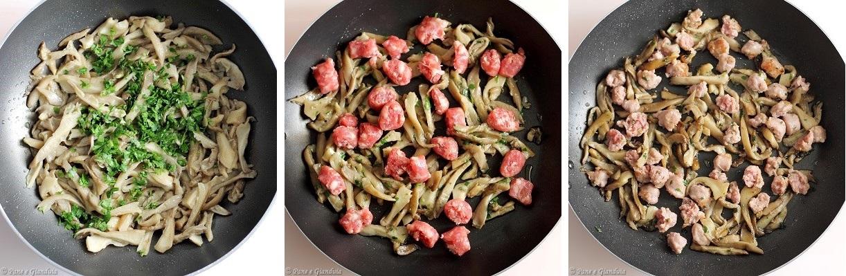 Focaccia con funghi e salsiccia
