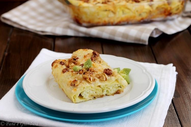 Cannelloni con ricotta, cavolfiore e noci