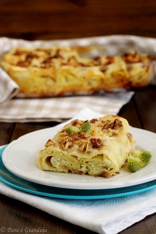 Cannelloni con ricotta cavolo romanesco e noci