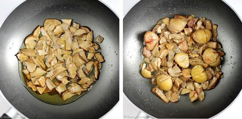 Risotto con funghi e castagne
