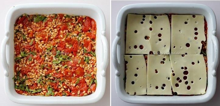 Farro al forno con pomodorini, emmental e rucola