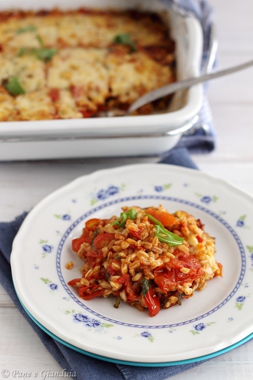 Farro gratinato con pomodorini, emmental, rucola