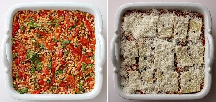 cottura Farro gratinato con pomodorini, emmental e rucola
