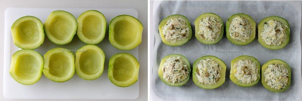 Ricette Zucchine tonde ripiene di riso e tonno