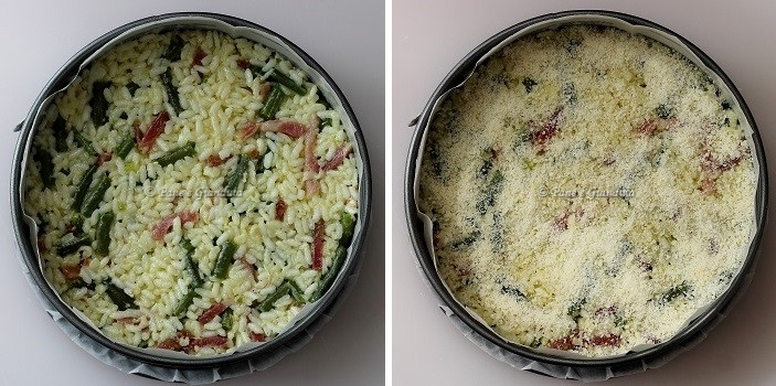 Timballo di riso con fagiolini, speck e provola fresca