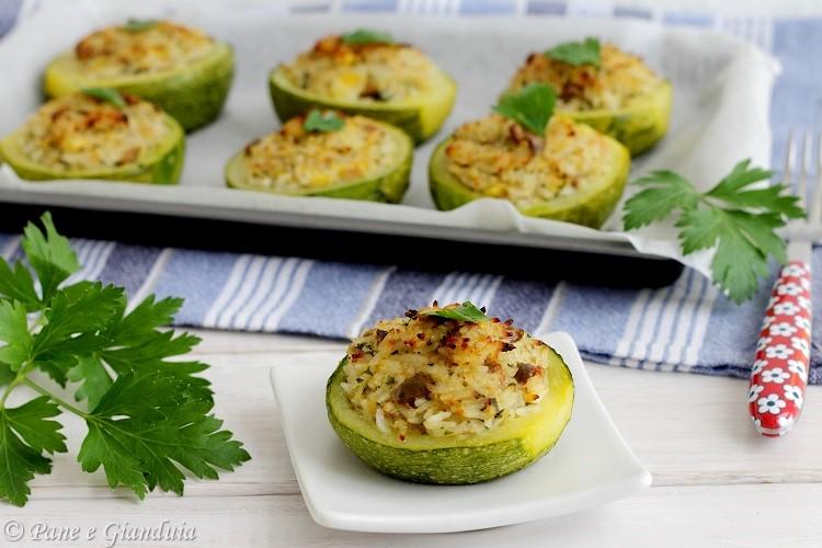 Zucchine tonde ripiene di riso e tonno
