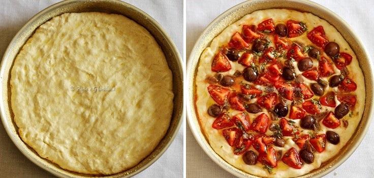 Ricetta Focaccia con pomodorini, alici e olive monacali