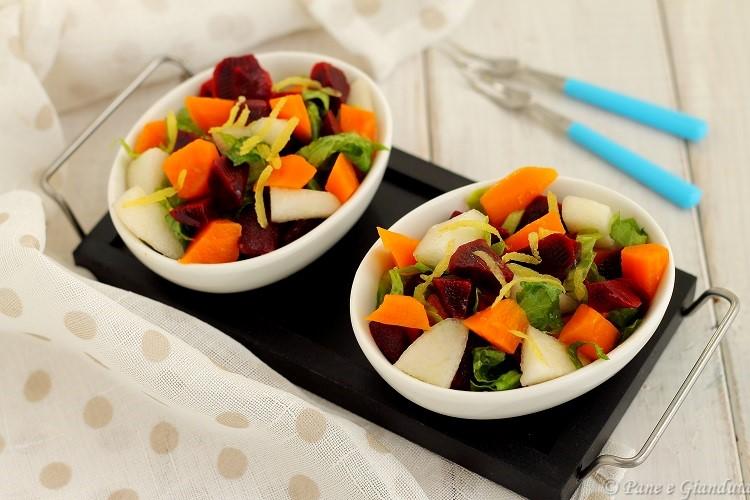 Insalata con carote viola e pere coscia