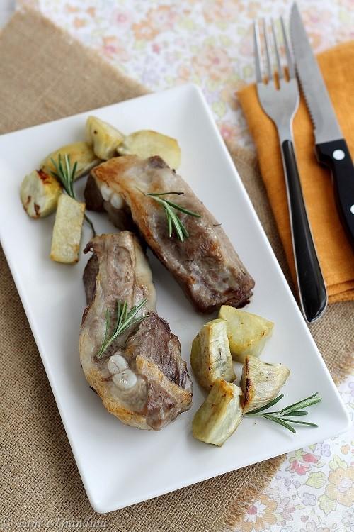 Costine al forno e patate dolci