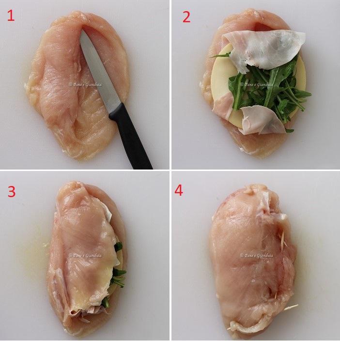Tasche di pollo farcite