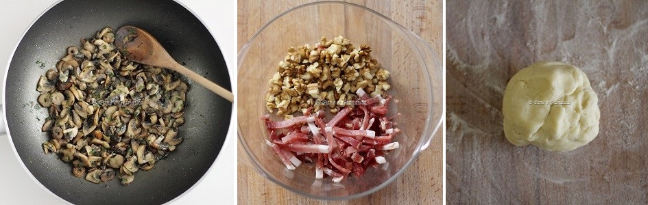 Ingredienti Quiche funghi speck e noci