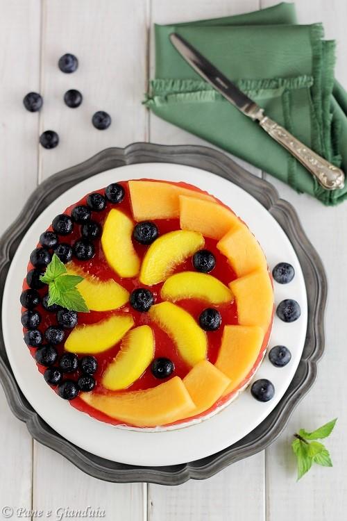 Cheesecake alla menta con anguria e melone